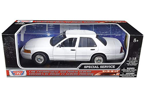 - Ford Crown Victoria Undercover Special Service Police Car White 1/18 Diecast Model Car by Motormax 73527