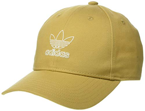(adidas Women's Originals Outline Logo Relaxed Adjustable Cap, Raw Sand/White, One Size)