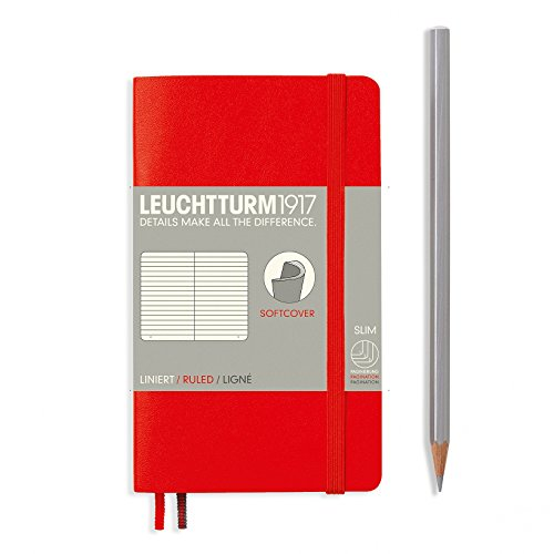 "Leuchtturm 1917 Soft Cover Small (A6) Pocket Journal, Red, 3.54"" x 5.9"" - Ruled/Lined"