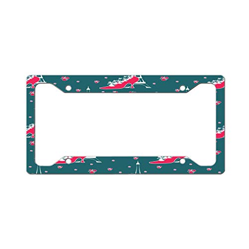 Style In Print Custom License Plate Frame Eiffel Tower with Pink Shoes Aluminum Cute Car Accessories Wide Top Design Only One Frame
