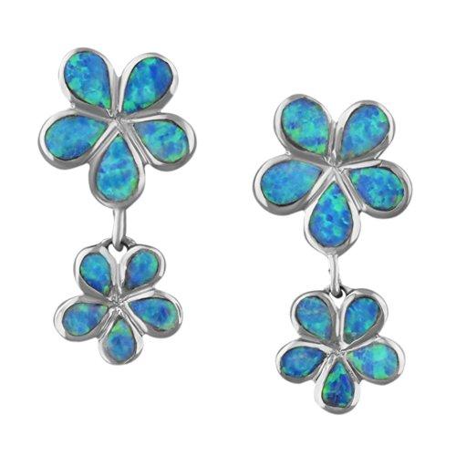 925 Silver Rhodium Synthetic Blue Opal Double Plumeria Dangle Earrings Hawaiian Silver Jewelry