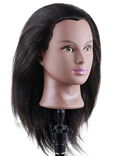 Search : African American Mannequin Head Human Hair for Braiding Styling Practicing Black Hair Doll Head Manikins for Cosmetology (B12)
