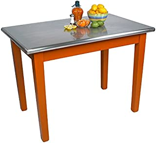"""product image for John Boos Cucina Americana Moderno Prep Table with Stainless Steel Top Size: 48"""" W x 30"""" D, Base Finish: Warm Cherry"""