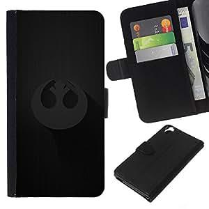 YiPhone /// Tirón de la caja Cartera de cuero con ranuras para tarjetas - Alianza Rebelde - HTC Desire 820