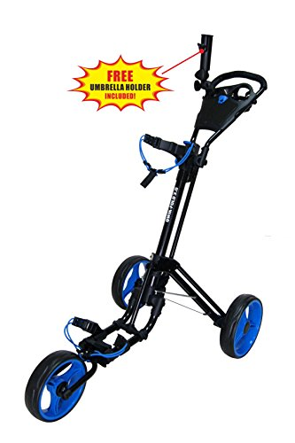 - Qwik-Fold 3 Wheel Push Pull Golf CART - Foot Brake - ONE Second to Open & Close! (Black/Blue)