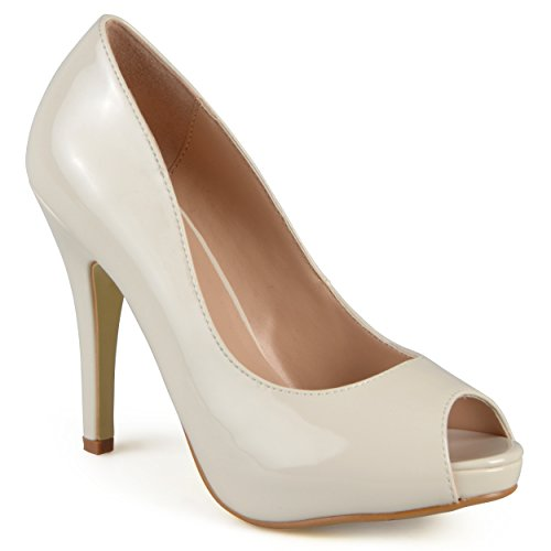 Journee Collection Womens Peep-toe Patent Pumps Ivory 8 (Ivory Leather Peep Toe Pumps)