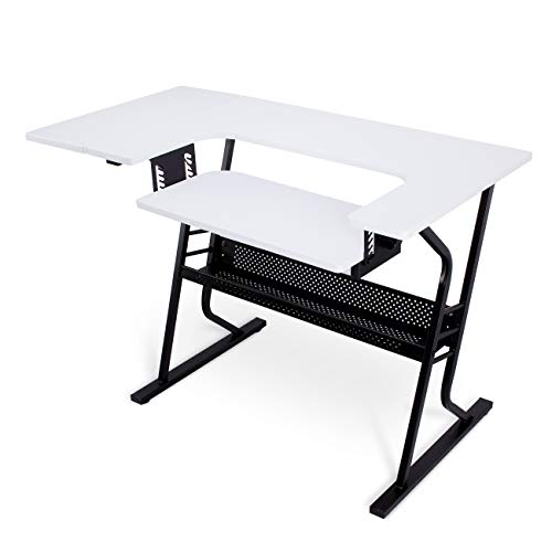 Belleze Craft Sewing Machine Platform Table w/Folding Side Shelf and Lower Storage Shelf, Black & White
