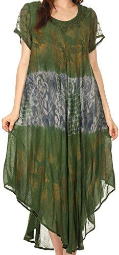 - Sakkas 17115 Laramie Short Sleeve Stonewashed Ethnic Print Dress with Embroidery - Green - OS