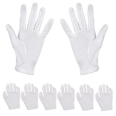 Aboat 6Pairs Cotton Gloves Moisturizing Gloves Hand Spa Gloves Cotton Cosmetic Moisturizing Gloves, White