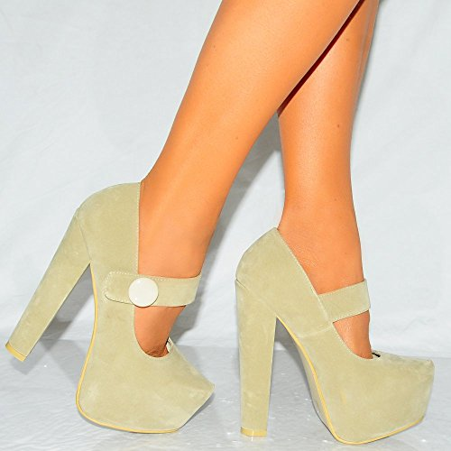 8 Beige Womens De Plates Mesdames Talons Court 3 Suédine Janes Mary Chaussures formes Dissimulé UFqTO