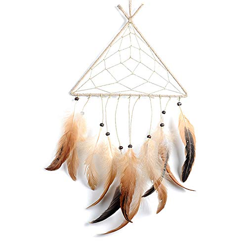 FECTY Portable Metal Wind Chime Triangle Dream Catcher Feather Pendant Indoor Decorations ()