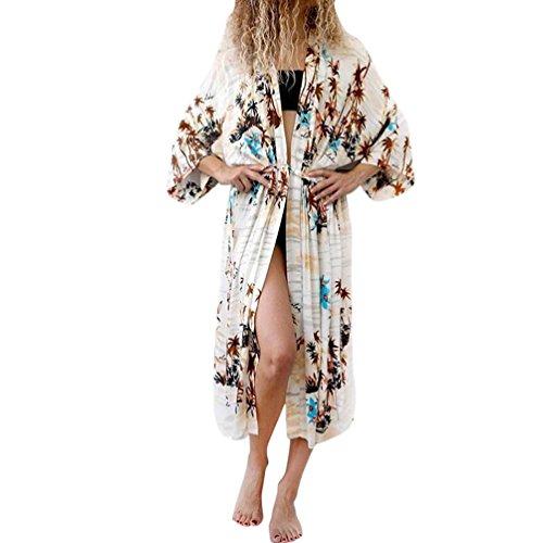 Blouse for Women,Connia Chiffon Leaves Print Cover Blouse Swimwear Beach Swimsuit Smock Tops Bikini (Yellow, -
