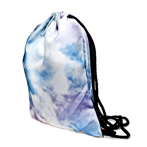 Fringoo Jungen Mädchen Teenager Kordelzug Tasche Schule Rucksack Schulter Sporttasche, Reisebeutel Mehrfarbig Emoji King Holo H40 x L33 cm Pastel Clouds