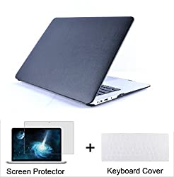 "Neway 3 In 1 Bundle Leatherette Top Surface Hard Shell Case Cover Protector For Apple Macbook Air 11"" (A1370 & A1465)& Keyboard Cover & Lcd Hd Screen Protector,11.6"" Air,leatherette-black(bundle)"