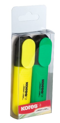 Kores Bright Liner Highlighter Pens, Chisel Tip, Yellow/Green (Pack of 2)