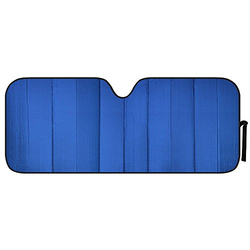 Motor Trend AS-312-BL_am Front Windshield Sun shade - Jumbo Accordion Folding Auto Sunshade for Car Truck SUV 66 x 27 Inch (Blue)