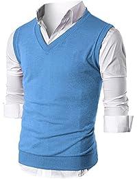 Ohoo Mens Slim Fit Casual V-Neck Knit Vest