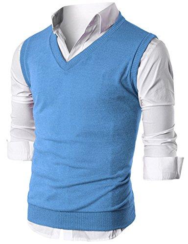 Ohoo Mens Slim Fit Casual V-Neck Knit Vest/DCV010-SKYBLUE-3XL