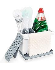 YOHOM Brush Sponge Holder Kitchen Sink Caddy Organizer Dishcloth Rag Hanger Scrubber Soap Storage Holder Kitchen Sinkware Caddy with Drainer Tray 4 Removable Dividers White & Gray