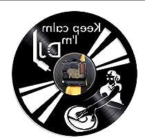mubgo Relojes De Pared Decir Keep Calm Im DJ Wall Art Reloj De Pared DJ Mixer Spinning Vinyl Record Player Tocadiscos Hip Hop Vinyl Record Clock Iluminado: Amazon.es: Hogar
