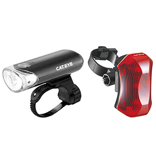 Opticube Led Bike Light - CatEye Head Light and Rear Light Combo, Black