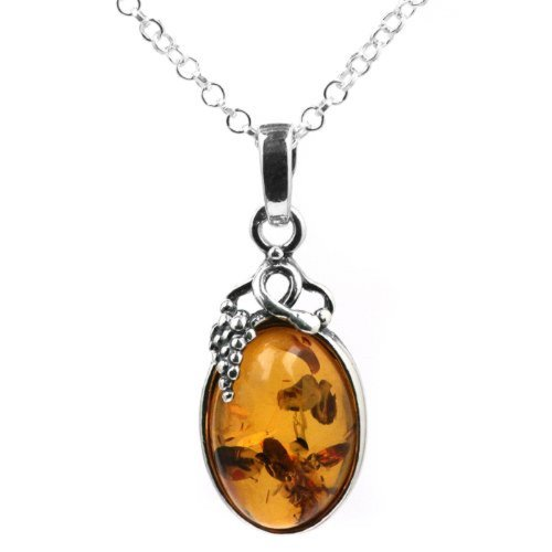 Amber Sterling Silver Grapevine Pendant Necklace Chain 18