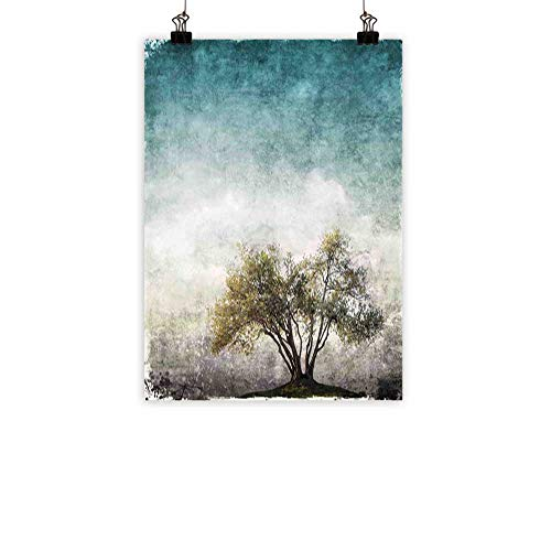 familytaste Tree of Life Modern Oil Paintings Grunge Landscape with Single Tree and Retro Background Rustic Print Canvas Wall Art Teal Green Beige -