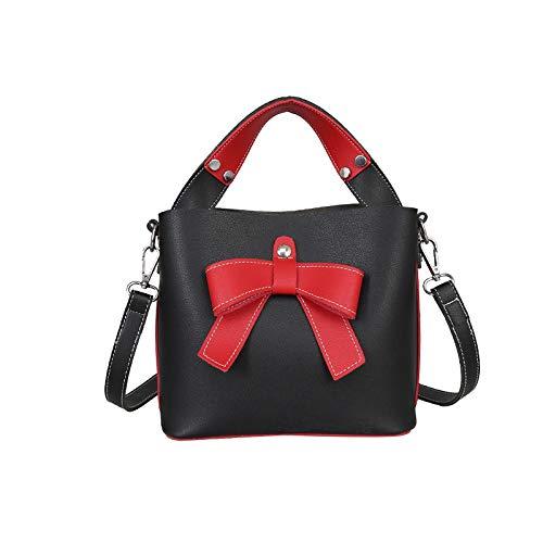GSHGA Borsa a secchiello diagonale a tracolla moda Borsa a tracolla semplice a contrasto in colore femminile Borse a tracolla Black