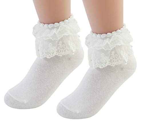 (VIVIKI Women Lace Cotton Frilly Ruffle Socks Ankle Socks Pearl Socks A06 (White, 1 - Pairs))