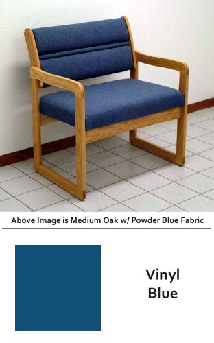 Heavy Duty DWBA1-1 Dakota Wave Sled Base Bariatric Chair in Medium Oak & Vinyl Blue Fabric (800 Pound Capacity) from ABC -