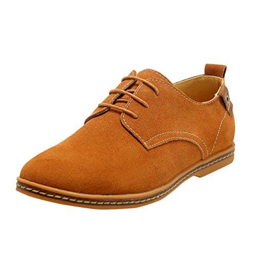 Ocio Extra Zapatillas Talla Zapatos Cordones Oxfords YiJee Hombre de los Camello wS6Et