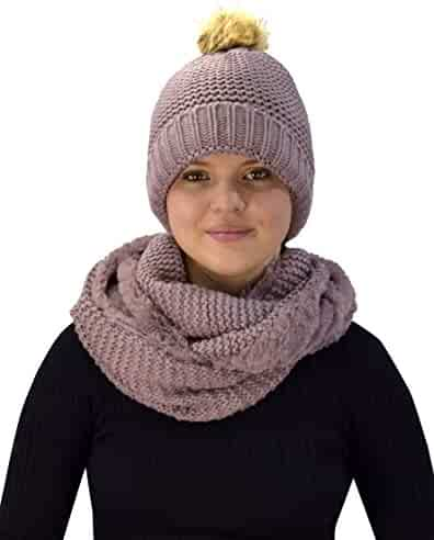 12c2a14c0f1 Peach Couture Thick Crochet Weave Beanie Hat Plush Infinity Loop Scarf 2  Pack