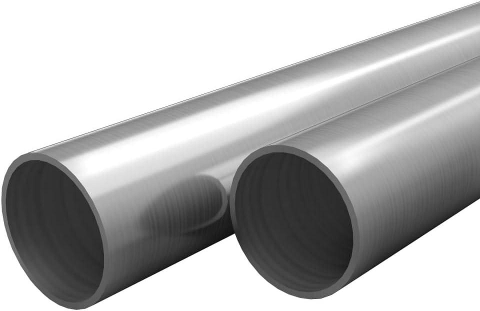 UnfadeMemory 2uds Tubo de Acero Inoxidable Redondos,Barras Huecas de Acero Inoxidable,Resistentes al Calor y la Corrosión,V2A,Grano 240 (Longitud 100cm, 25x1,9mm)
