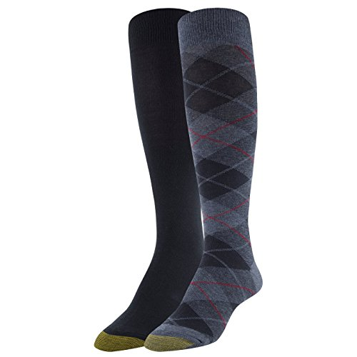 Denim Womens Pairs (Gold Toe Women's Winter Plaid and Flat Knit Knee Highs, 2 Pairs, Denim/Navy, Shoe Size: 6-9)