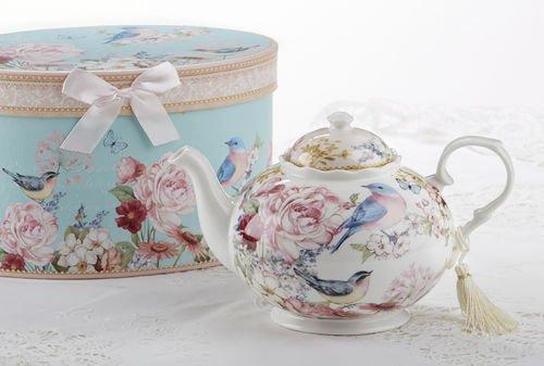 """9.5x5.6"""" Porcelain Tea Pot / Gift box, Blue Bird"""