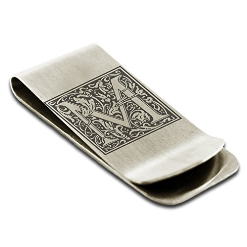 Stainless Steel Letter M Initial Floral Box Monogram Engraved Money Clip Credit Card Holder