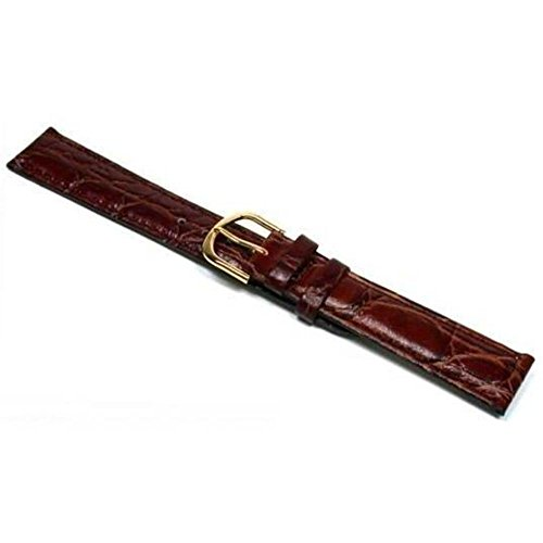Grain Padded Leather (Watch Band Padded Brown Leather Croco Grain 18mm New)