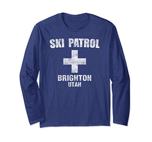 Brighton Ski (Unisex Retro Official Brighton Utah Ski Patrol T Shirt 2XL Navy)