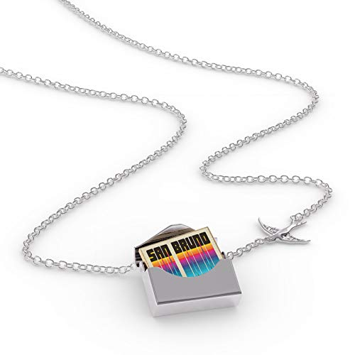 NEONBLOND Locket Necklace Retro Cites States Countries San Bruno in a Silver ()