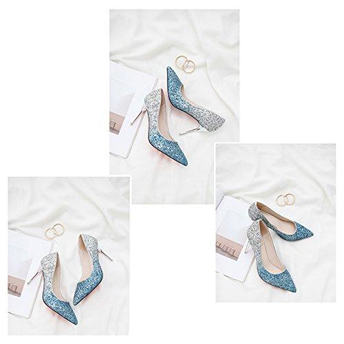 Blue Mujer Boda Punta Tacón Zapatos Del Gradiente Banquete Aguja Estrecha Color Linyi De 2018 SwOC4q