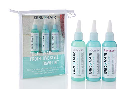 Girl+Hair Natural Hair Products, Under Hair Care Travel Kit, Encorage Hair Growth with Trial Sizes of Nourish - Cleanse - Refresh, 3.4 Fl Oz./100ml Each... (The Best Hair Care Products For Natural Hair)