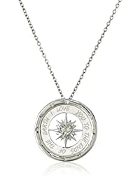 Sterling Silver Diamond I Love You To The Ends of The Earth Compass Pendant Necklace