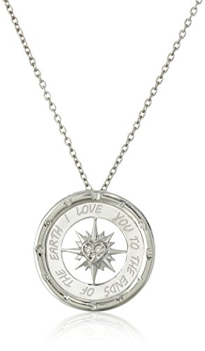 Amazon #LightningDeal 90% claimed: Sterling Silver Diamond I Love You To The Ends of The Earth Compass Pendant Necklace