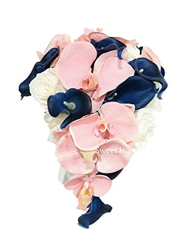 Sweet Home Deco Silk Phanaenopsis Orchid Rose Calla Lily Mixed Wedding Bridal Bridesmaid Bouquet Boutonniere Blush Pink/Navy Blue/White (Pink/Blue/White-Cascading Bouquet)