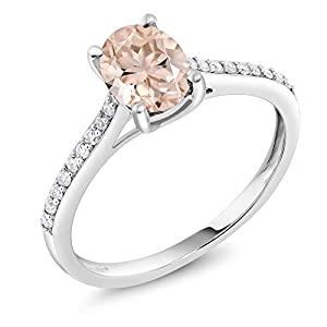 10K White Gold Peach Morganite and Diamond Engagement Solitaire Ring 1.10 Center Oval Stone: 8x6mm (Available 5,6,7,8,9)