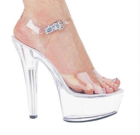 Ellie Shoes, Brook 6in Pump 2in Platform Clear Size 9