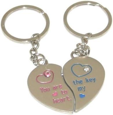 2 keyrings broken heart valentines day personalised engraved heart keyring