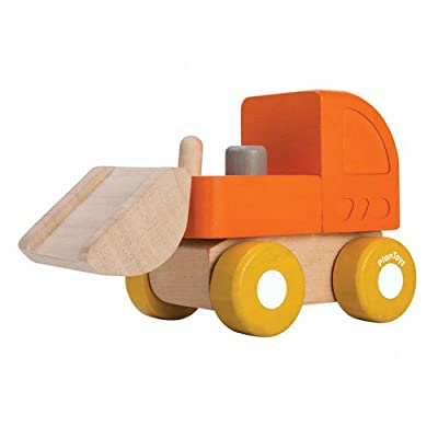 PlanToys Wooden Mini Bulldozer Vehicle Playset (5441) | Sustainably Made from Rubberwood and Non-Toxic Paints and Dyes: Toys & Games