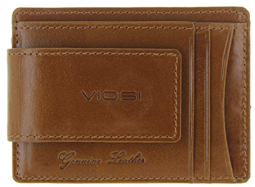Viosi Genuine Kingston Leather Magnetic Front Pocket Money Clip Made with Powerful RARE EARTH Magnets (Tan Crunch) (Western Money Wallets Clip)