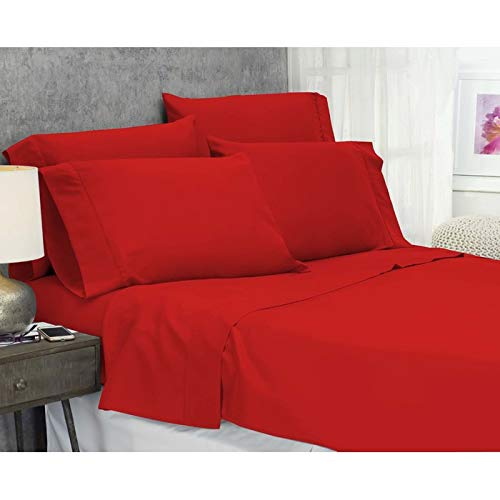- Namira Bedding 6 PCs Bed Sheet Set Egyptian Cotton 600 Thread Count(Flat Sheet, Fully Elasticized Fitted Sheet & 4 Pillow Cases) Blood Red, Full, Pocket Size 21 Inches